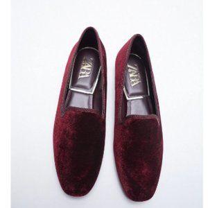 Zara Burgundy Velvet Loafer Shoes
